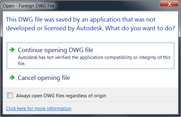 I can't import or open dwg files. Is this type of file not ...